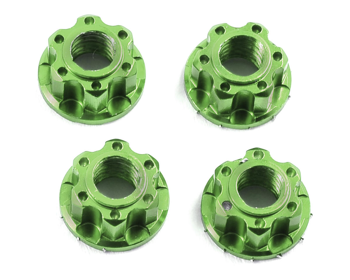 Yeah Racing 4mm Aluminum Serrated Wheel Lock Nut (4) (Green) (Losi TEN-SCT Nitro)