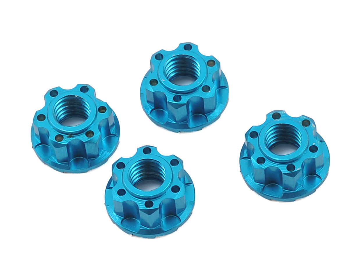 Yeah Racing 4mm Aluminum Serrated Wheel Lock Nut (4) (Blue) (Kyosho Lazer ZX-5)