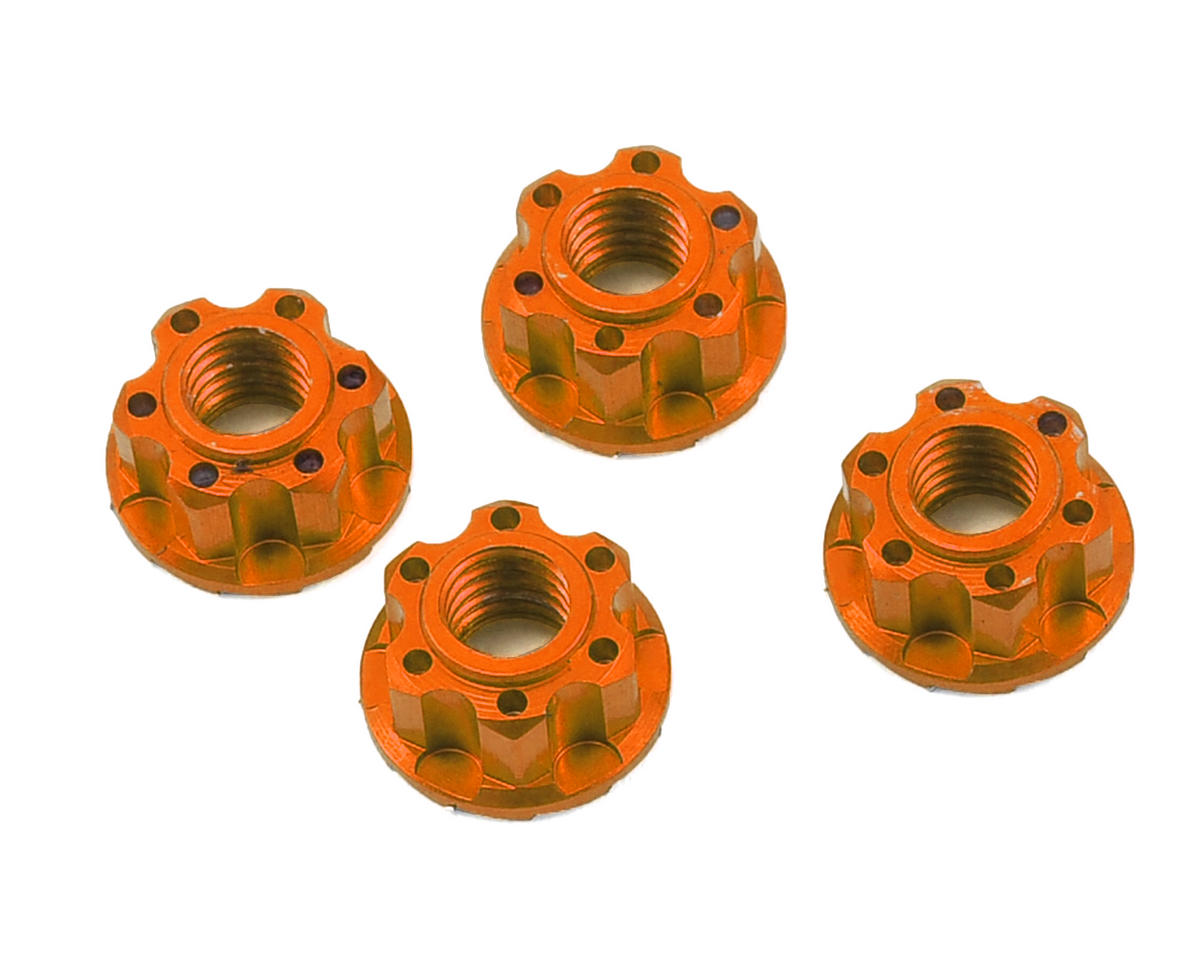 Yeah Racing 4mm Aluminum Serrated Wheel Lock Nut (4) (Orange) (Kyosho Lazer ZX-6)