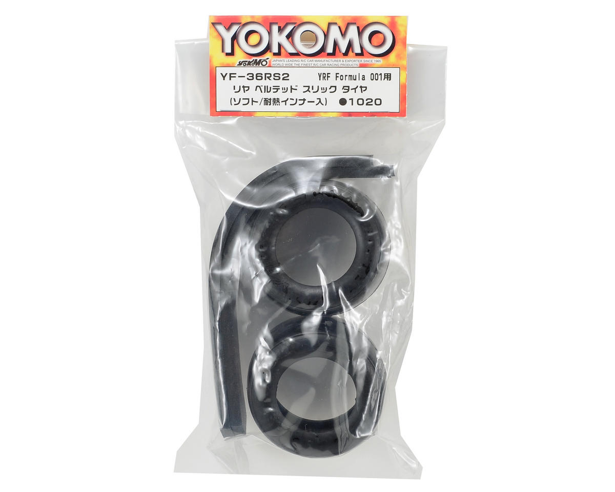 Yokomo Rear Belted Slick Tire Set (Soft) (2)