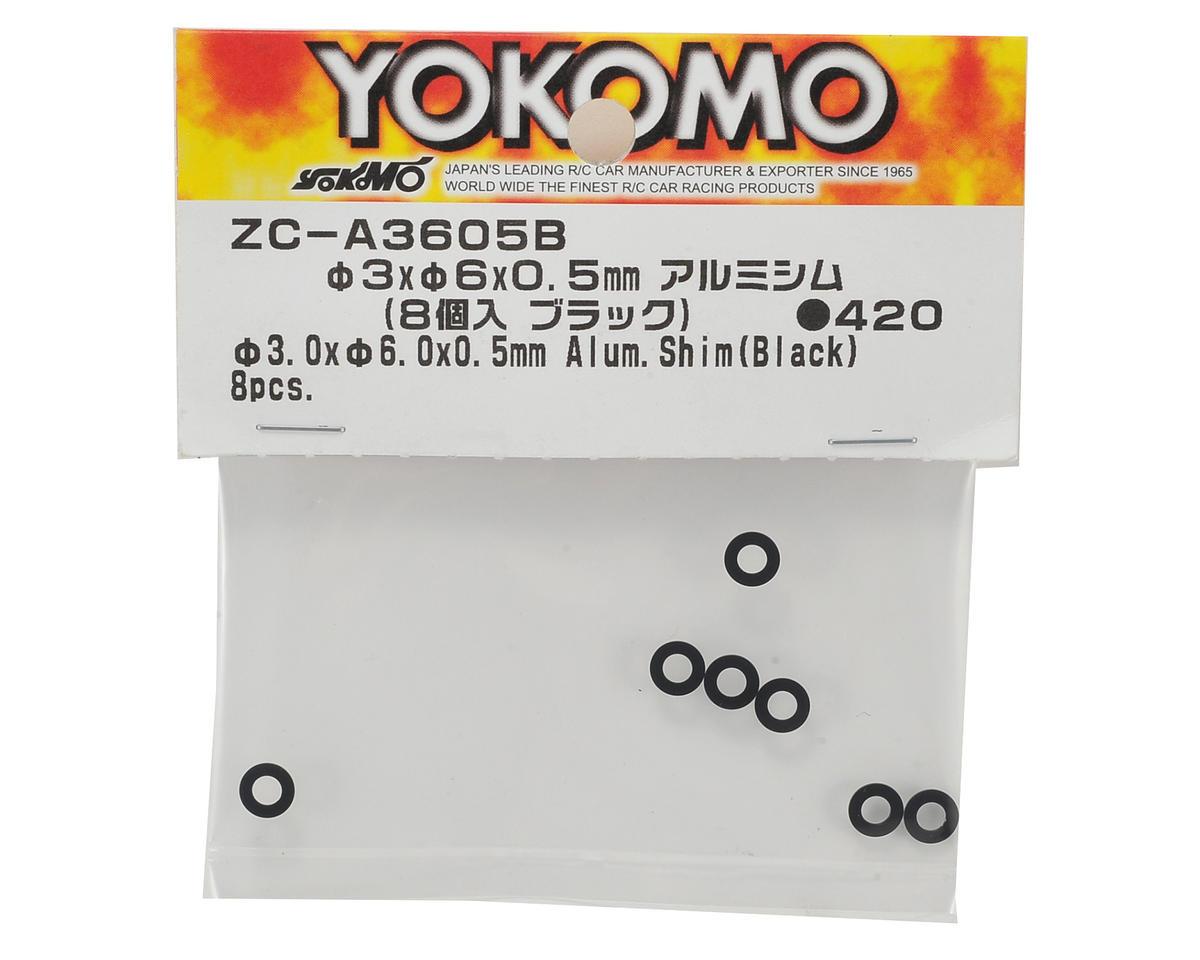 Yokomo 3x6x0.5mm Aluminum Shim (Black) (8)