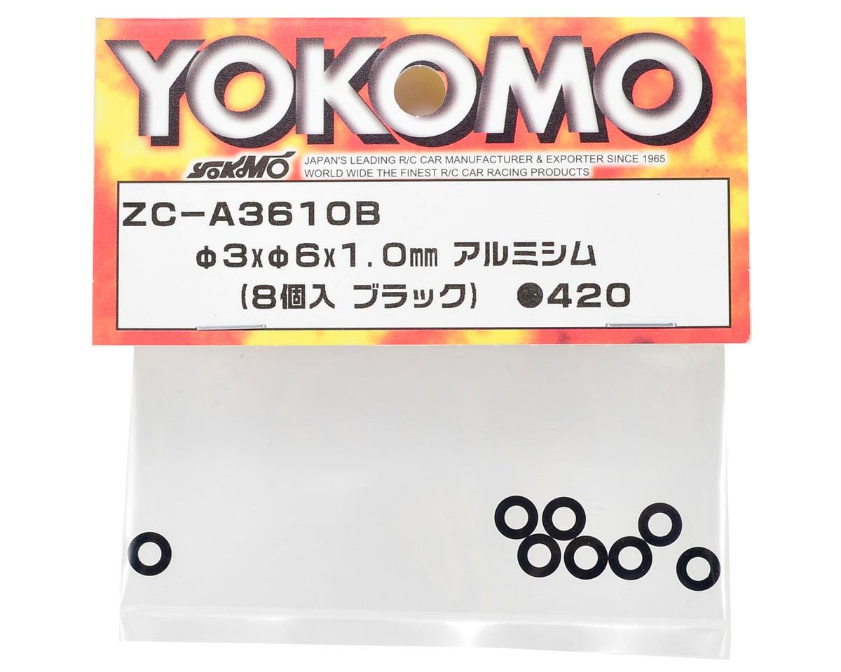 Yokomo 3x6x1.0mm Aluminum Shim (Black) (8)