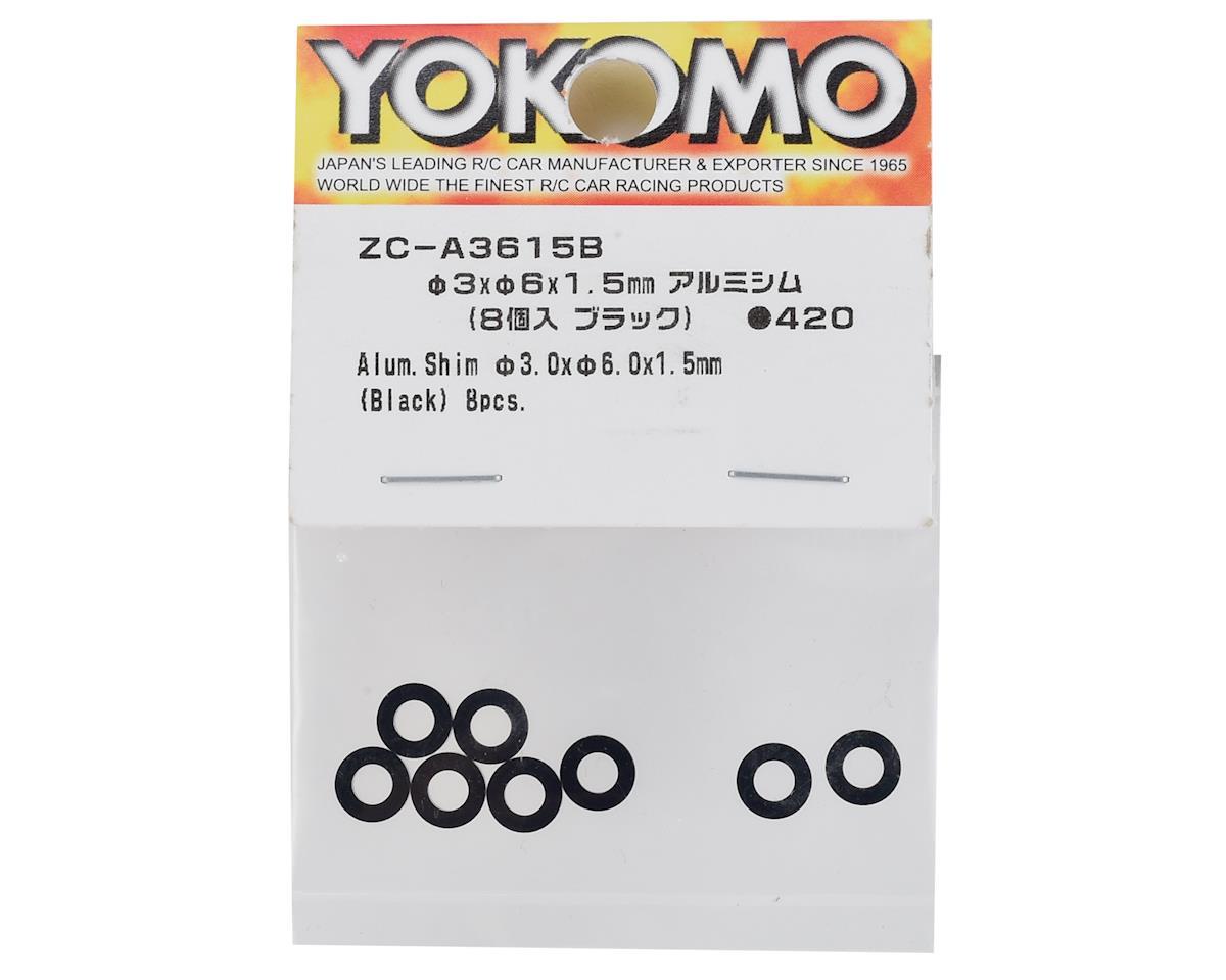 Yokomo 3x6x1.5mm Aluminum Shim (Black) (8)
