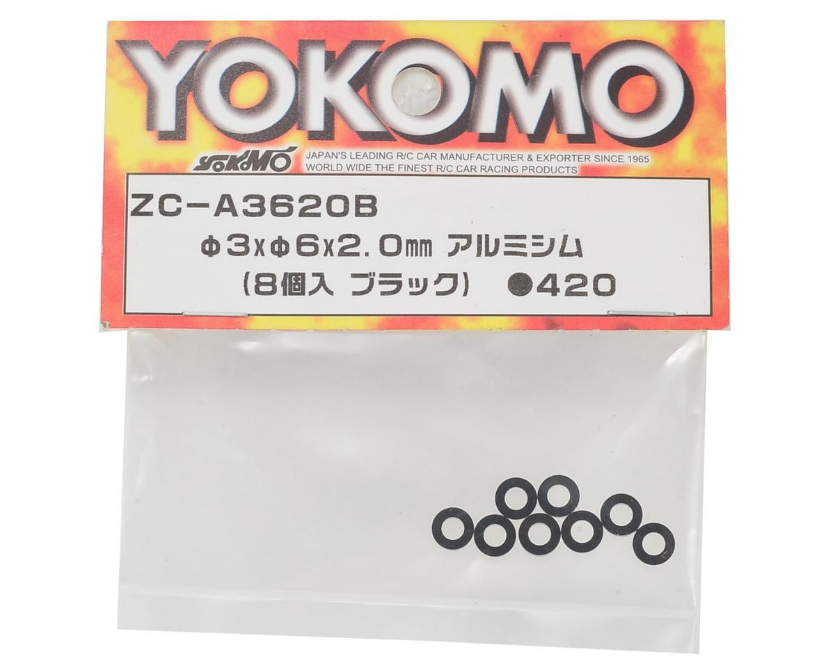 Yokomo 3x6x2.0mm Aluminum Shim (Black) (8)