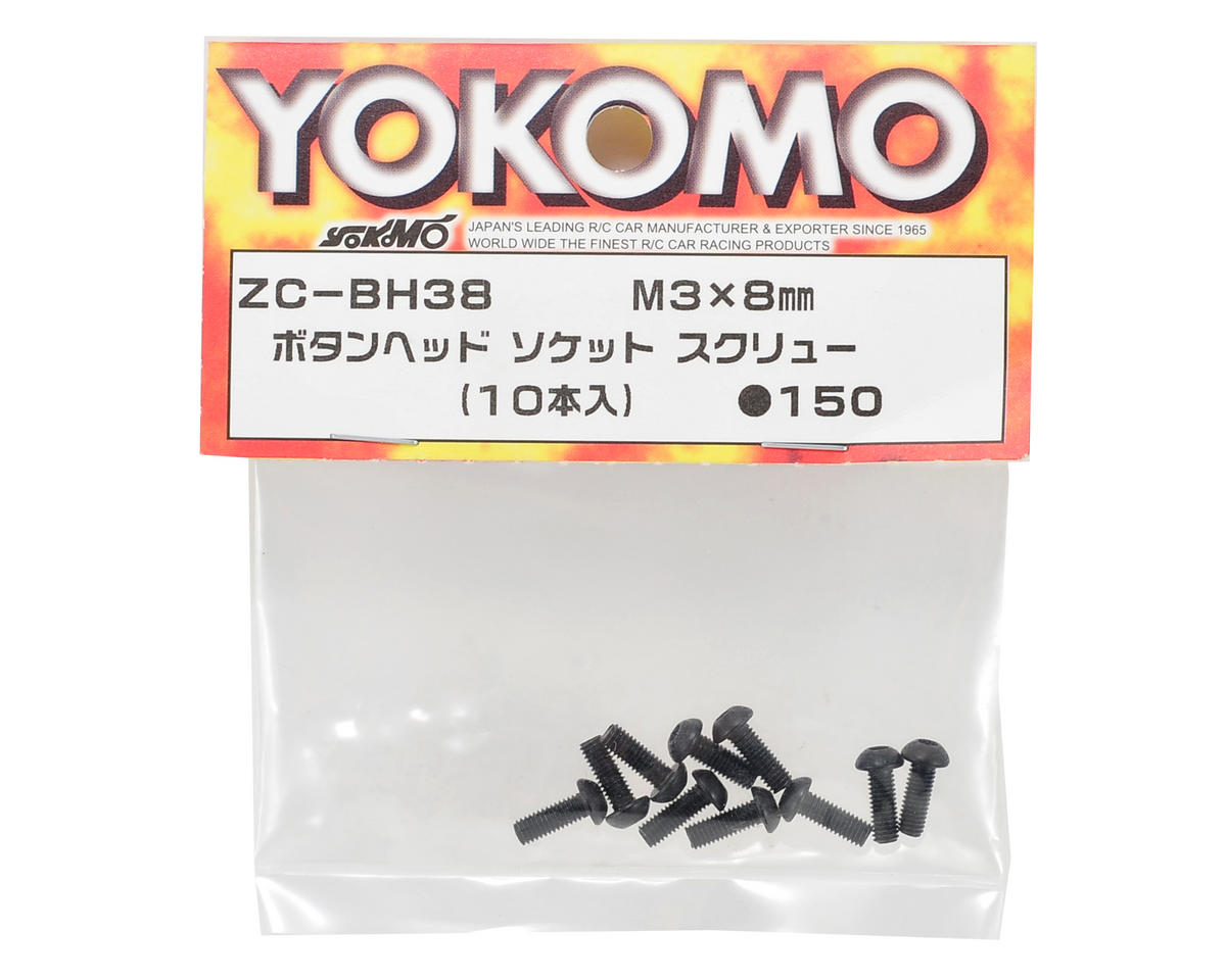 Yokomo 3x8mm Button Head Hex Screw (10)