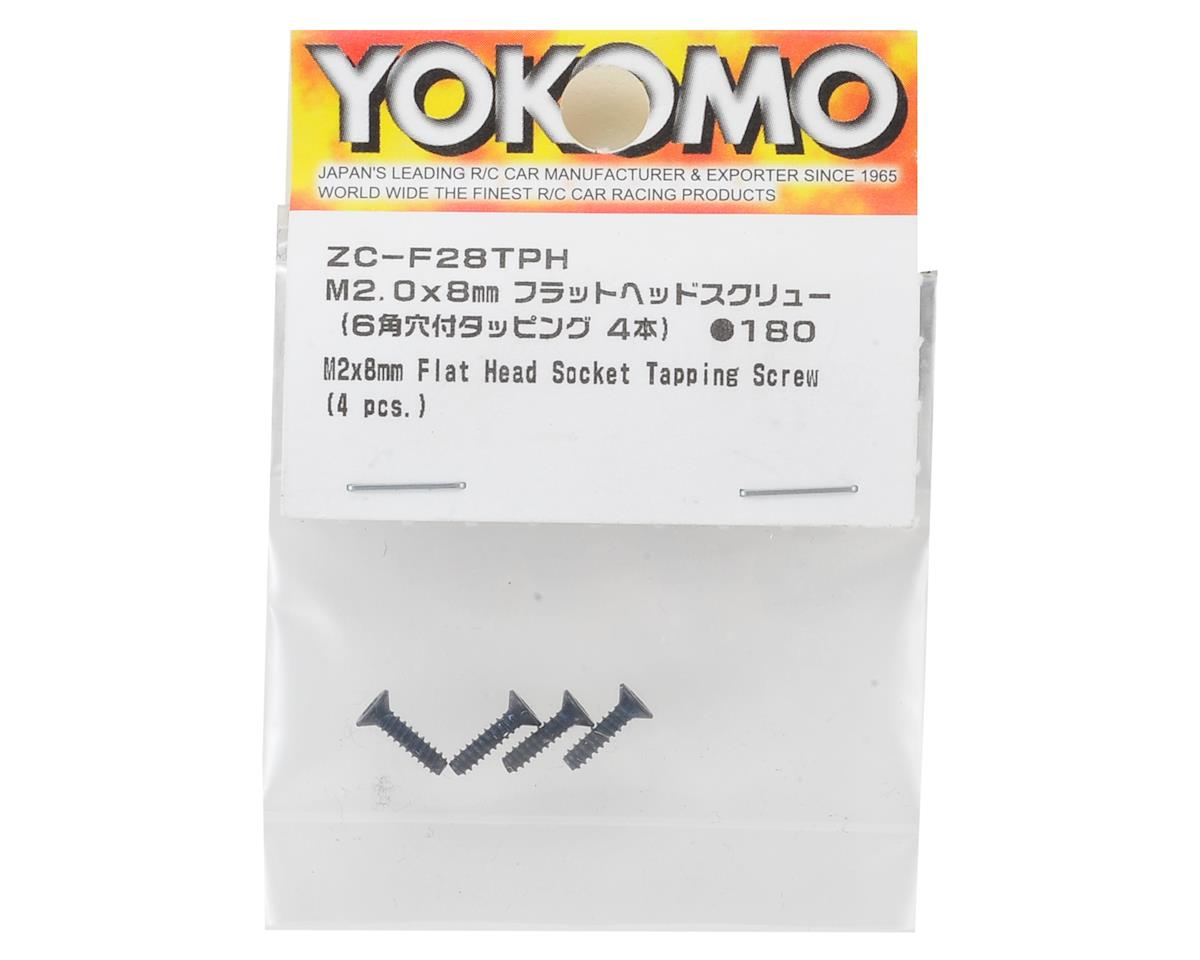 Yokomo 2x8mm Flat Head Tapping Hex Screw (4)