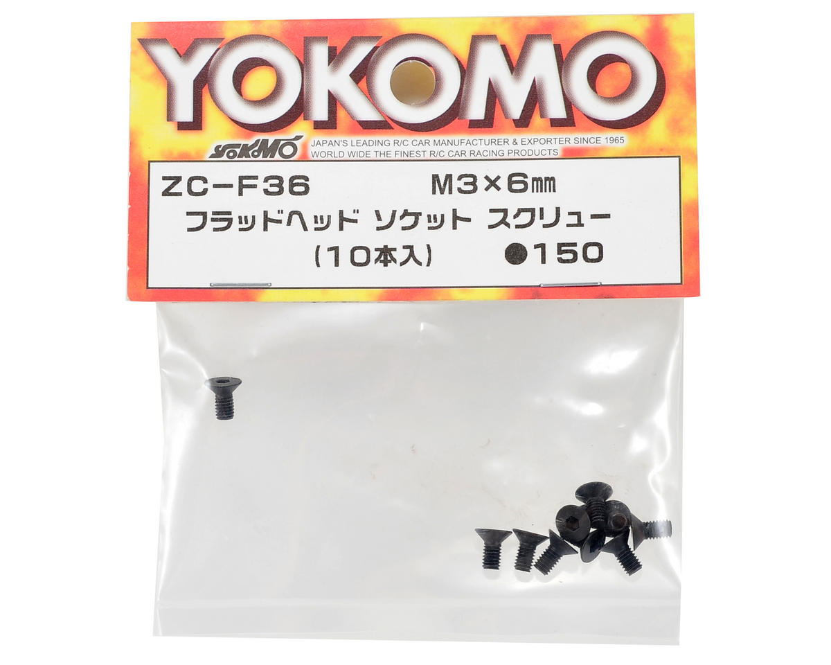 Yokomo 3x6mm Flat Head Hex Screw (10)