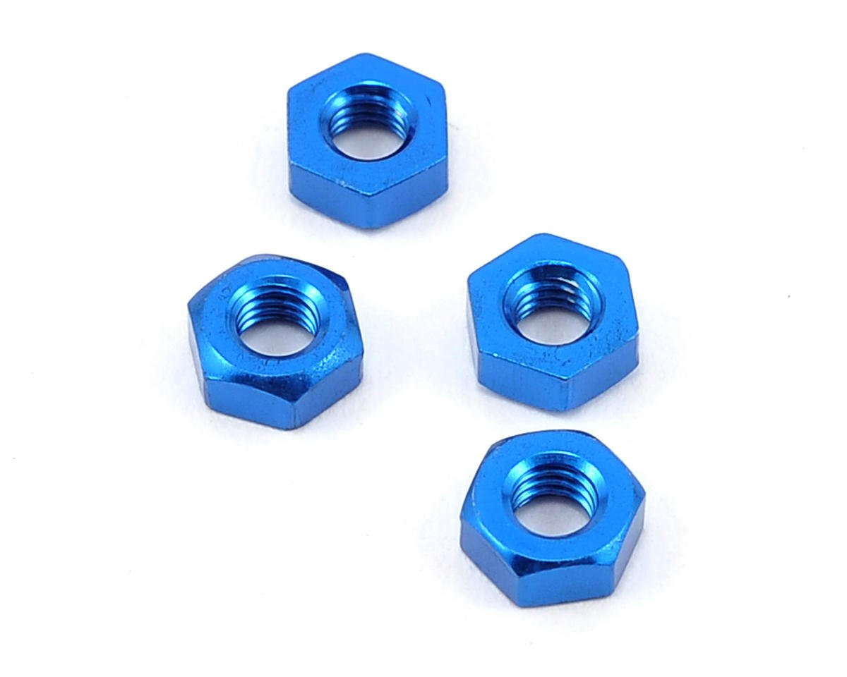 Yokomo 3mm Aluminum Nut (Blue) (4)