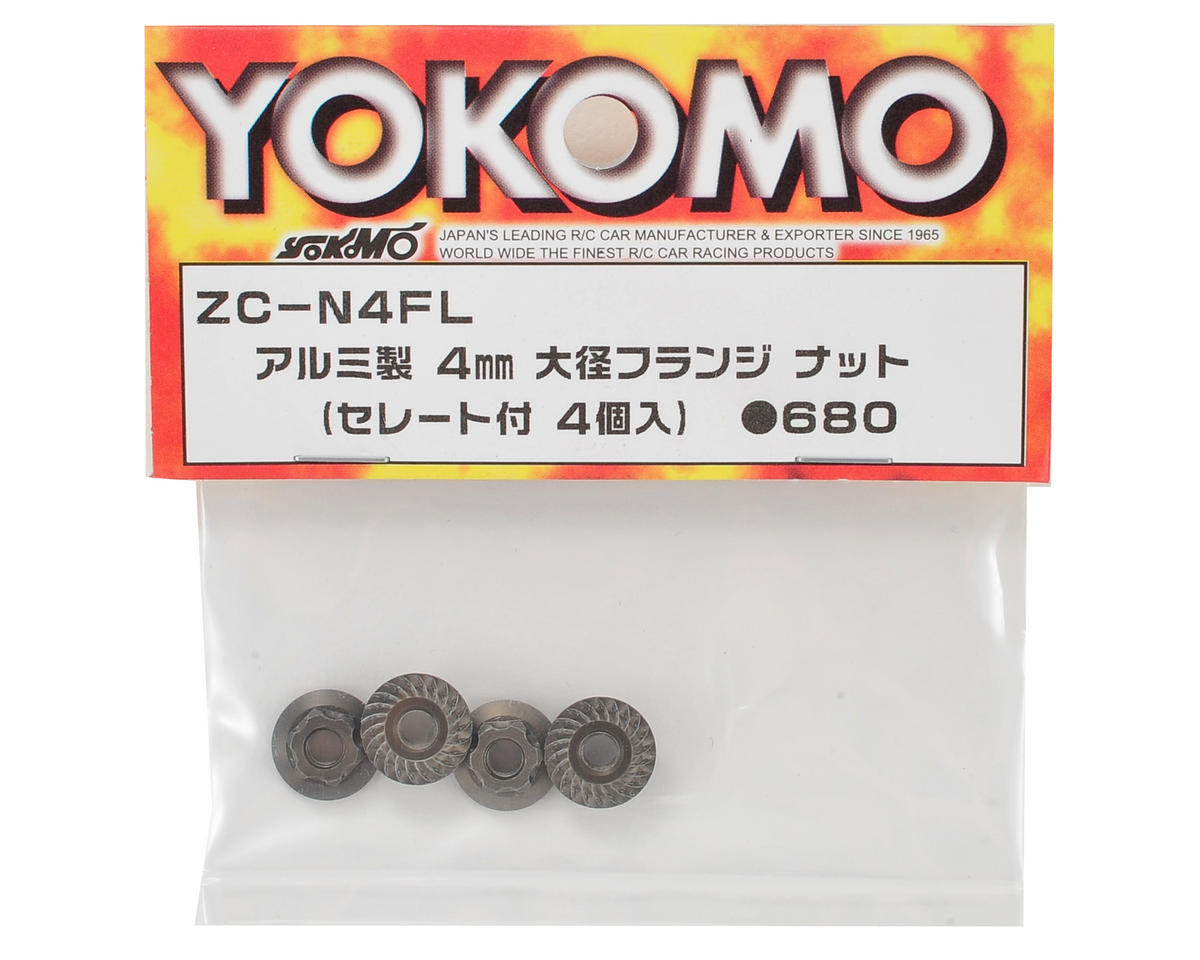 4mm Aluminum Serrated Flanged Nut (4) by Yokomo