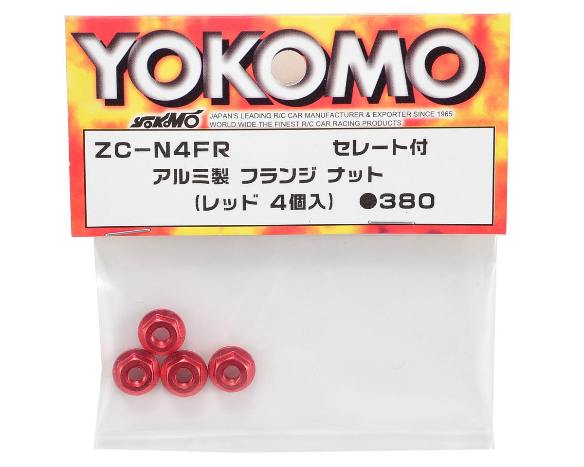 Yokomo 4mm Aluminum Serrated Flanged Nut (Red) (4)