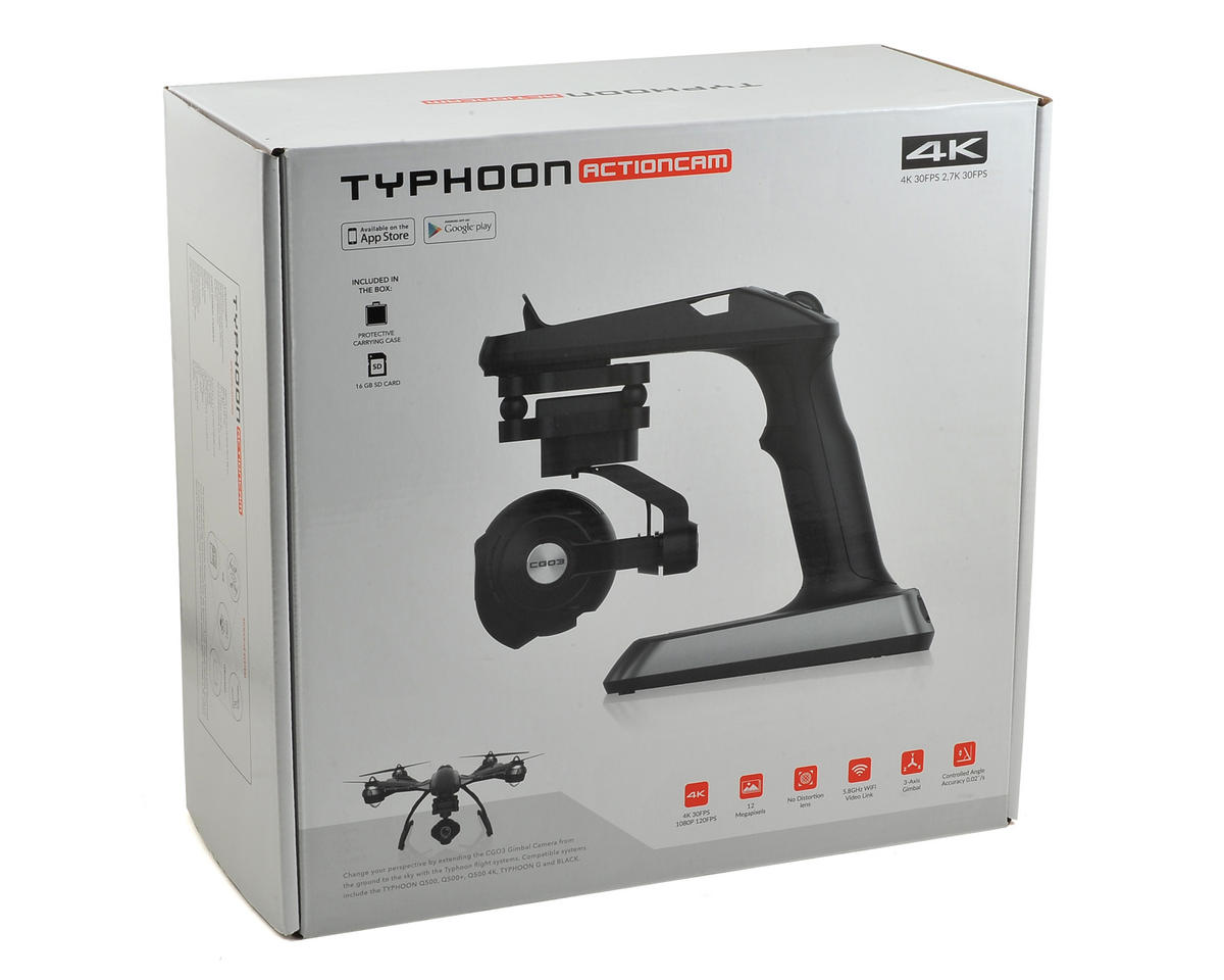 Yuneec USA Typhoon ActionCam CGO3 Handheld SteadyGrip Camera, Gimbal & Mount