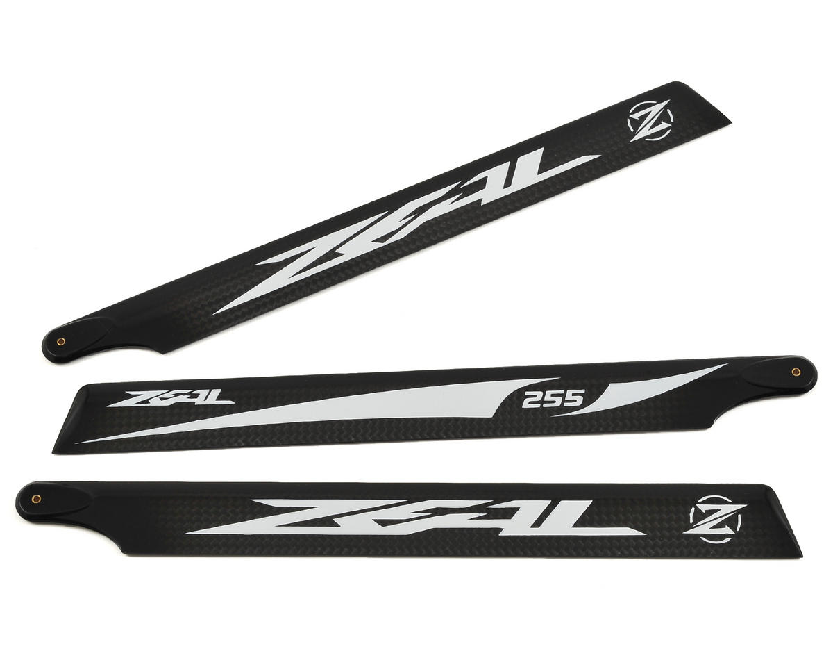 Zeal 255mm Carbon Fiber Main Blades (White) (3)