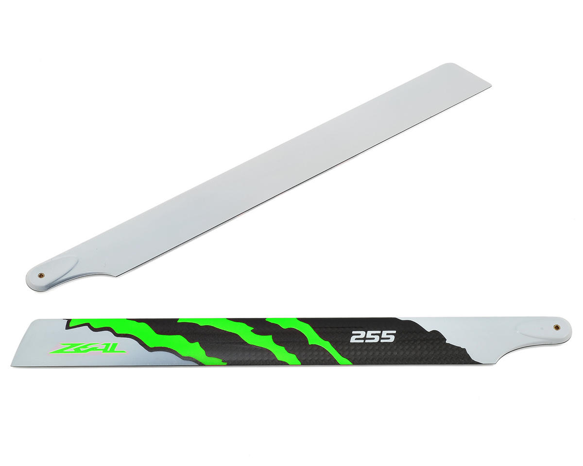 "255mm ""Energy"" Carbon Fiber Main Blades (Green) by Zeal"