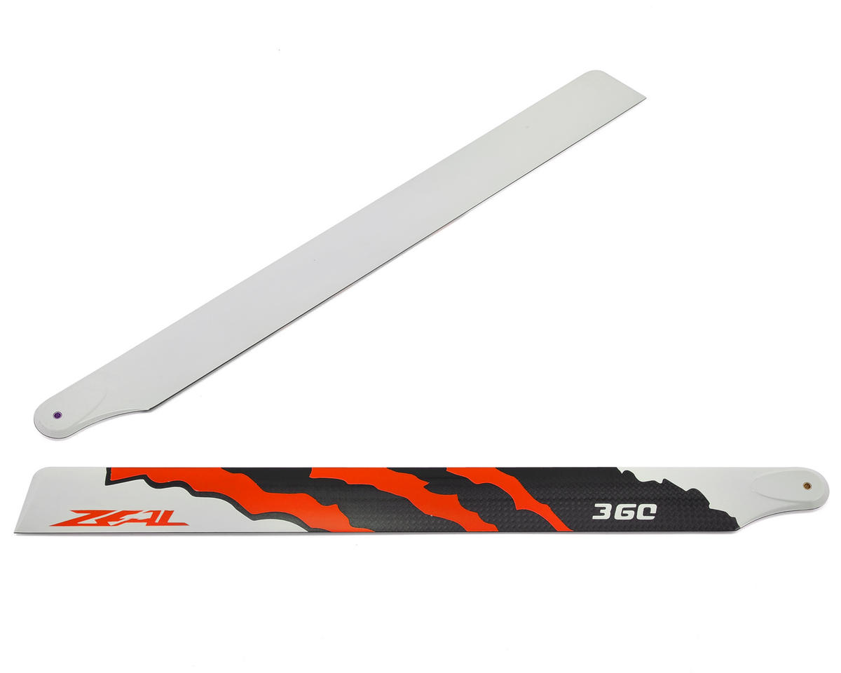 "Zeal 360mm ""Energy"" Carbon Fiber Main Blades (Neon Orange) (SAB Goblin 380)"