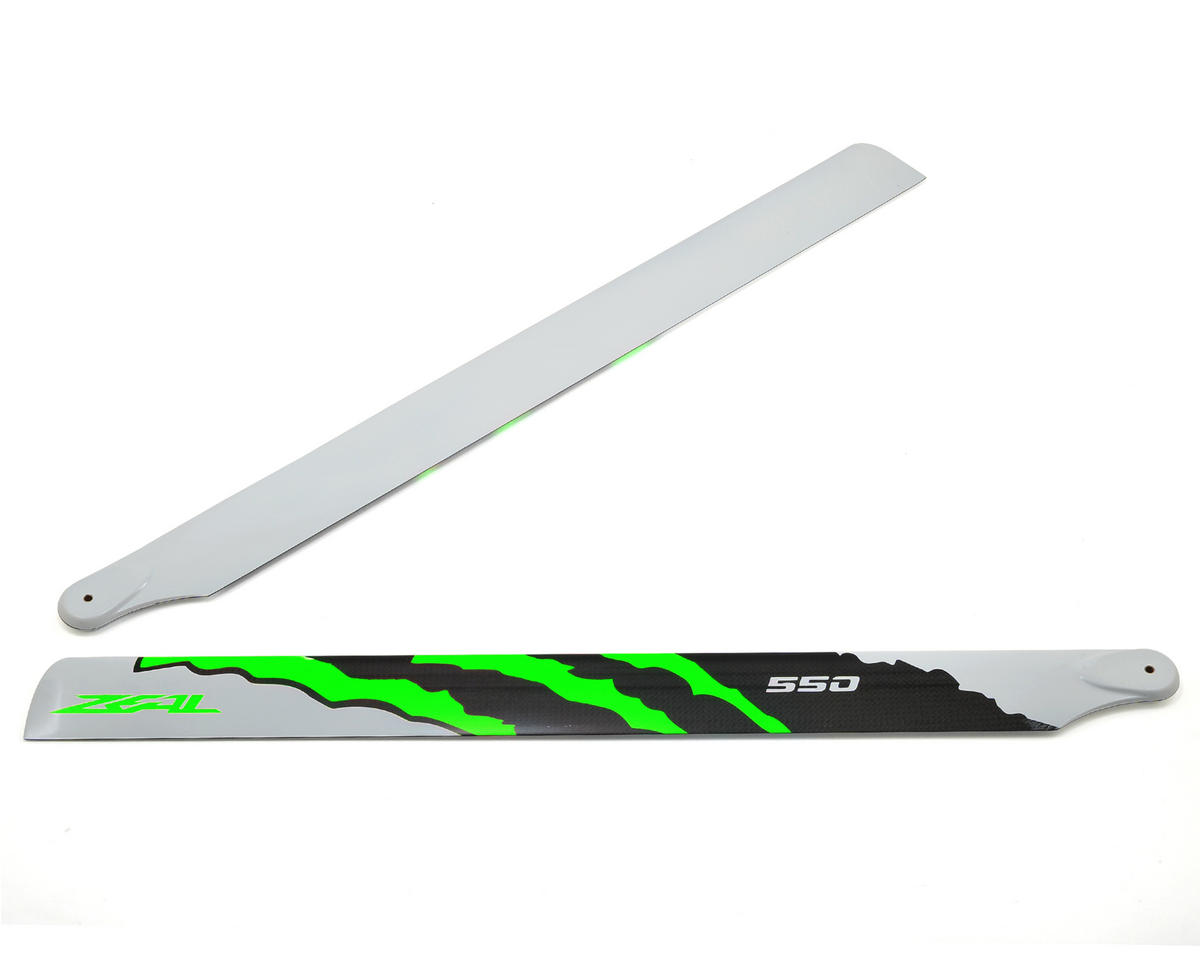 "550mm ""Energy"" Carbon Fiber Main Blades (Green) by Zeal"