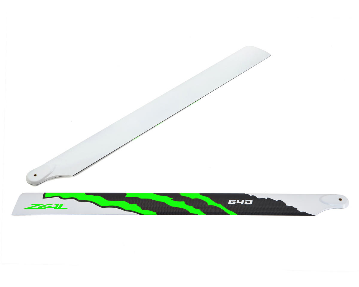 "Zeal 640mm ""Energy"" Carbon Fiber Main Blades (Green)"