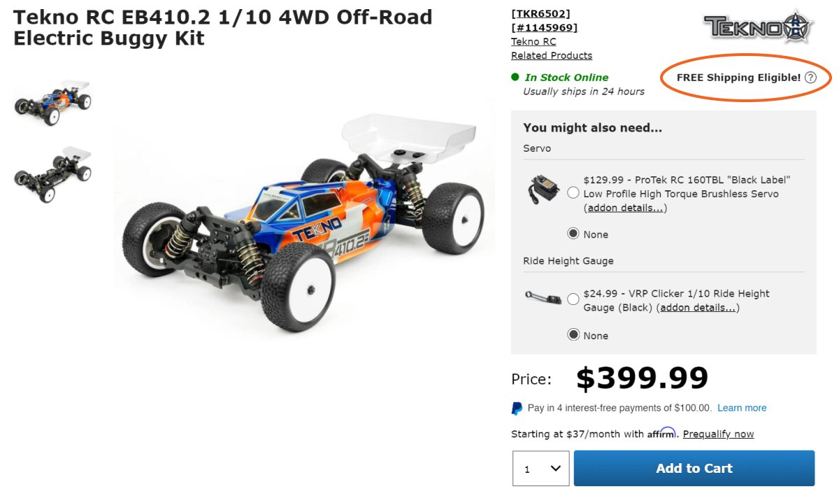 Free Shipping shown on a product